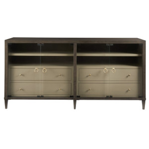 Soliloquy Media Cabinet with 4 Glass Doors 82""