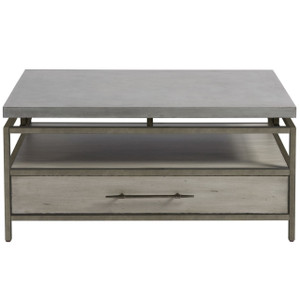 Garrison Concrete Top Bronze Base Storage Cocktail Table