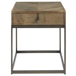 Langston Metal + Rustic Elm Wood Parquet Top End Table