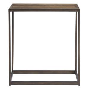 Langston Metal + Rustic Elm Wood Side Table