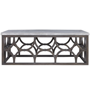 French Maison Dark Wood Concrete Top Cocktail Table