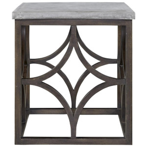 French Maison Dark Wood Concrete Top End Table