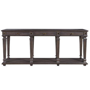 French Maison Dark Wood 3 Drawers Console Table