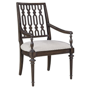French Maison Dark Wood Upholstered Dining Arm Chair