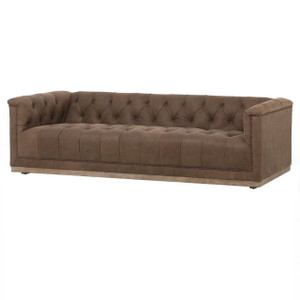 Maxx Umber Brown Leather Modern Tufted Sofa