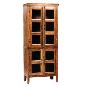 Vintage Reclaimed Wood Hutch with Glass Doors