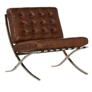 Barcelona Antiqued Brown Leather Lounge Chair