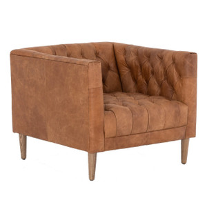 Williams Tufted Tan Leather Shelter Arm Chair