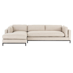 Grammercy Modern Sand Fabric 2 Piece Sectional Sofa