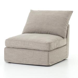 Paul Coastal Grey Fabric Sectional Armless Chair