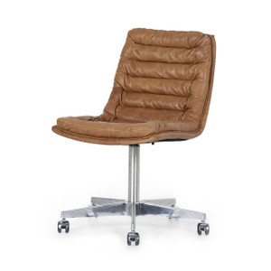Malibu Chestnut Tan Leather Office Desk Chair