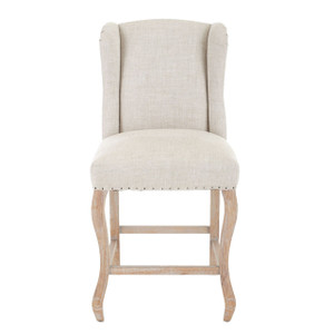 Rosemary Beige Belgian Linen Counter Stool