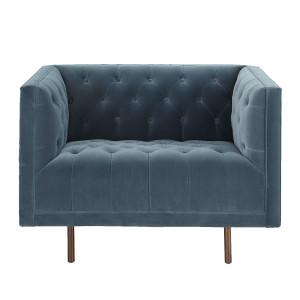 Lynette Blue Velvet Tufted Lounge Chair