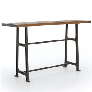 """Alistair Industrial Iron Reclaimed Wood Top Counter Table 71"""""""