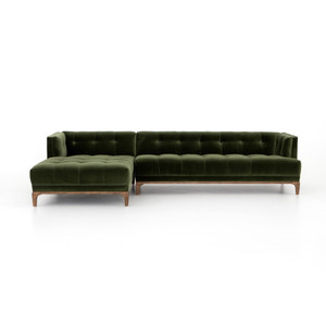 Dylan Modern Olive Green Velvet Tufted Sectional Sofa