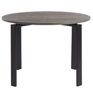 Parsons Oak Top/ Bronze Base Round Dining Table 42""