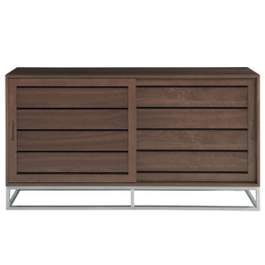 Urban Modern Walnut Sliding Door Media Cabinet 64""