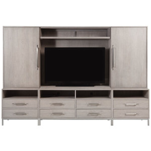 Urban Modern Mist Gray Entertainment Center with Cabinets
