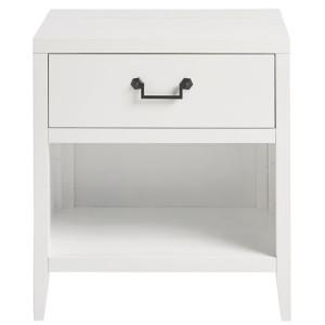 Boho Chic Modern White 1-Drawer Nightstand