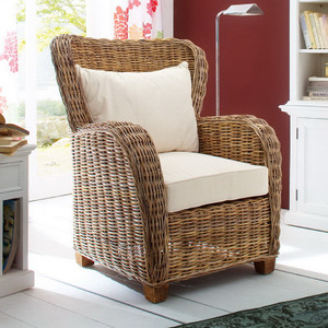 Gabby Coastal Wicker Wingback Accent Chair