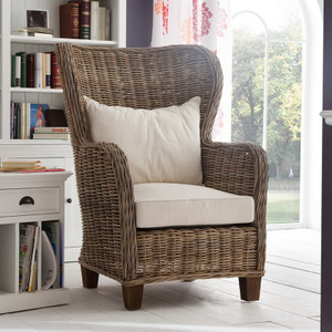 Garry Coastal Rattan Wingback Accent Chair