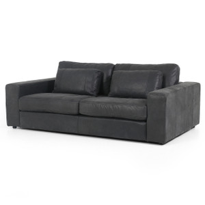 Bloor Black Leather Square Arm Sofa 82""