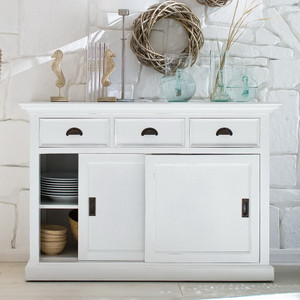 Coastal French White Sideboard with Sliding Barn Doors