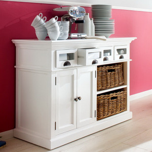 Coastal French White Sideboard With Basket Storage