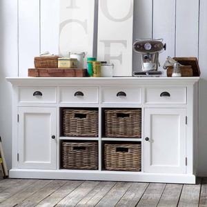 """Coastal French White Large Buffet With Basket Storage 63"""""""