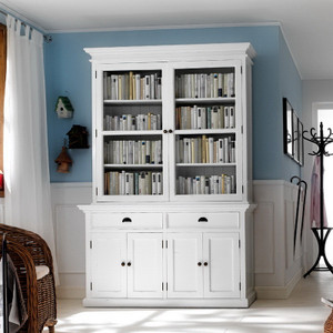 """Coastal French White Double-Door Sideboard & Hutch 57"""""""