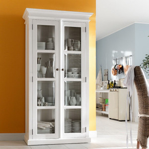 Coastal French Casement White Double-Door Cabinet