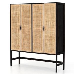 Audrey Woven Wicker 4 Door Storage Cabinet
