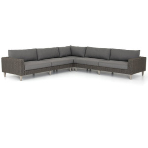Remi Charcoal Woven Rope Outdoor 3-Pc Corner Sectional Sofa