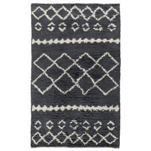 Modern Lattice Gray Wool Area Rugs Zin Home