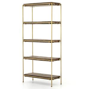 Barton Brass Frame + Slab Wood Bookcase
