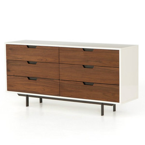 Tucker Walnut Wood + White Lacquer 6-Drawers Dresser