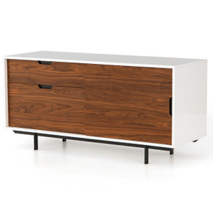 Mid-Century White Lacquer Sideboard with File Cabinet