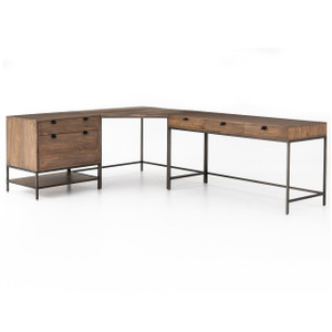 Fulton Industrial Modular Corner Desk with File Cabinet