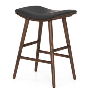 Saddle Mid-Century Black Leather Counter Stool