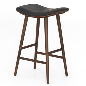 Saddle Mid-Century Black Leather Bar Stool