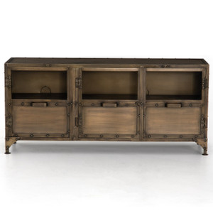 Element Industrial Antiqued Brass Media Console
