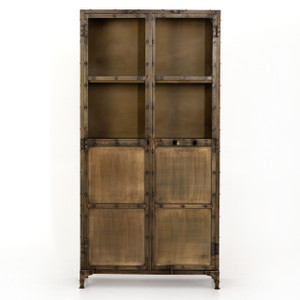 Element Industrial Antiqued Brass Tall Cabinet