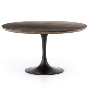 Aero Tulip Brown Oak Round Dining Table 55""
