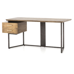 Alden Industrial Brass Modern Oak Desk 67""