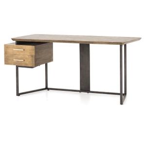 """Alden Industrial Brass Modern Oak Desk 67"""""""