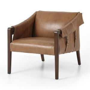 Bauer Mid-Century Tan Leather Club Chair