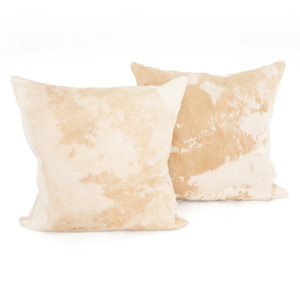Modern Natural Brown Cowhide Pillows, Set Of 2