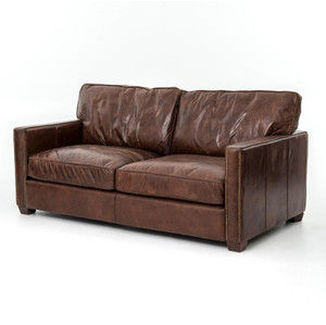 Larkin 2 Seater Vintage Cigar Distressed Leather Sofa