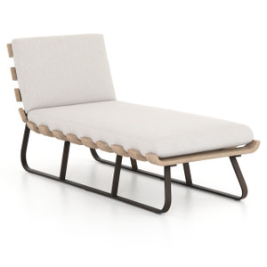 Dimitri Teak Wood Grey Outdoor Chaise Lounge Daybed