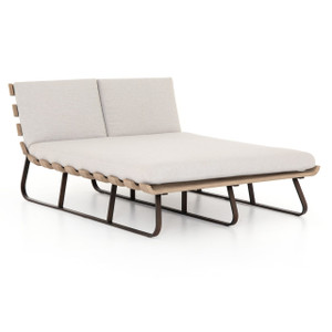 Dimitri Teak Grey Wood Outdoor Double Chaise Daybed